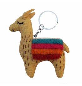 Global Groove Felted Llama Keychain