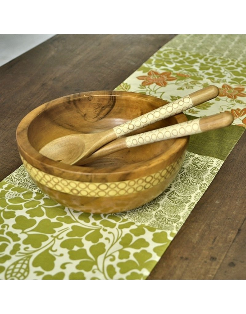 Balinese Endek Green Floral Table Runner