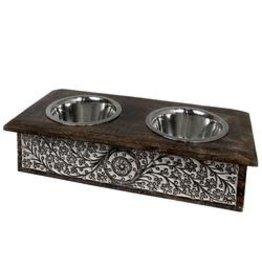 Mela Artisans Medium Elevated Wooden Dog Bowl