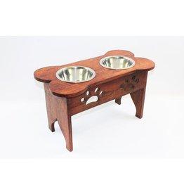 Mela Artisans Large Elevated Wooden Dog Bowl