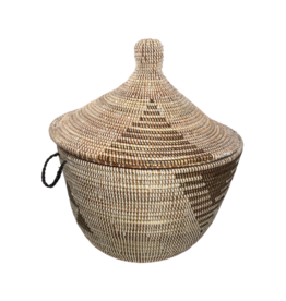 Swahili Modern White and Black Short Tribal Basket