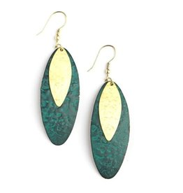 Fair Anita Teal Leaf Earrings