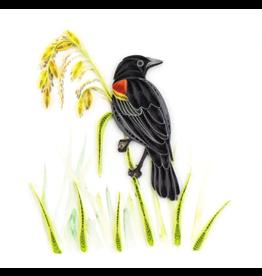 Quilling Card Redwing Blackbird Card