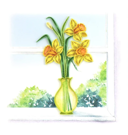 Quilling Card Daffodil Vase Card