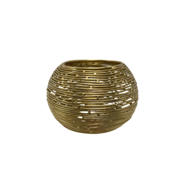 Noah's Ark Candleholder Round Gold colour Wire Small