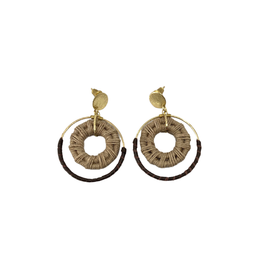 Sasha Association for Crafts Producers Jute and  Leather Disc Earrings