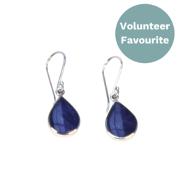 Allpa Sodalite And Silver Teardrop Earrings