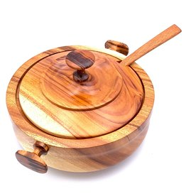 Women of the Cloud Forest Wooden Lidded Bowl and Spoon