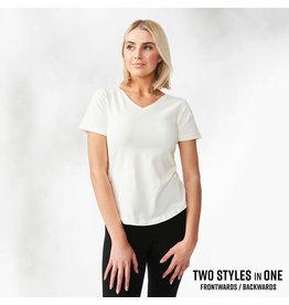 Maggie's Organics V-Neck White Tee Shirt XL