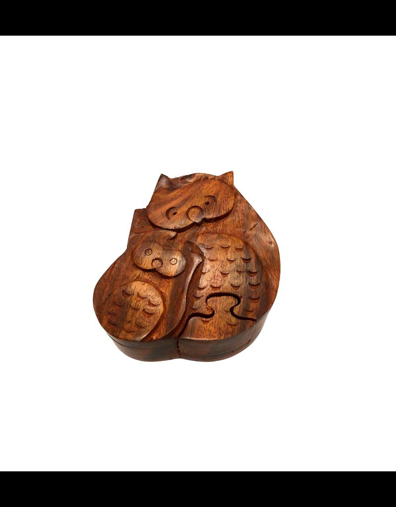 Asha Handicrafts Cuddling Owls Puzzle Box