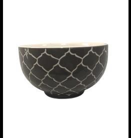 Mai Vietnamese Handicrafts Etched Grey Ceramic Bowl