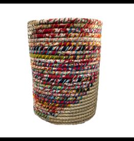 Prokritee Round Recycled Sari and Kaisa Round Basket (Large)