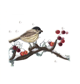 Quilling Card Chickadee Berries Card