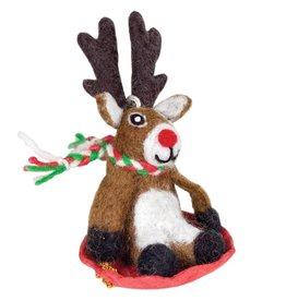 dZi Inc. Sledding Reindeer Ornament