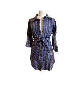 Mata Traders Blue Gingham Shirtdress