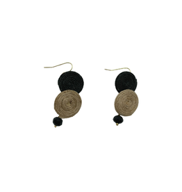 Sasha Association for Crafts Producers Black and Brown Disk Earrings