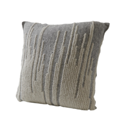 Kumbeshwar Technical School Grey Ikat Cushion Wool and Banana Fibre