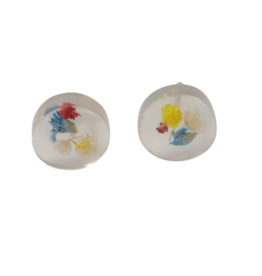 Sapia Round Earrings with Dried Flowers