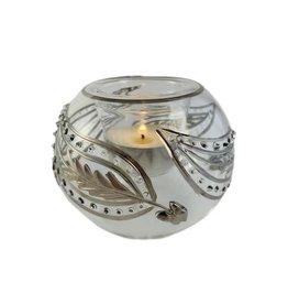 Dandarah Blown Glass Candleholder Silver Kashmir