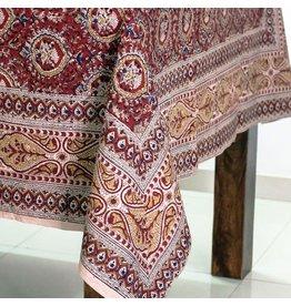 Sevya Handmade Cranberry Kalamkari Tablecloth