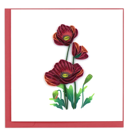 Quilling Card Red Poppies Card