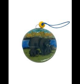 Pampeana Black Bears Glass Ornament