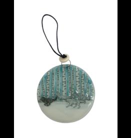 Pampeana Winter Wolves Glass Ornament