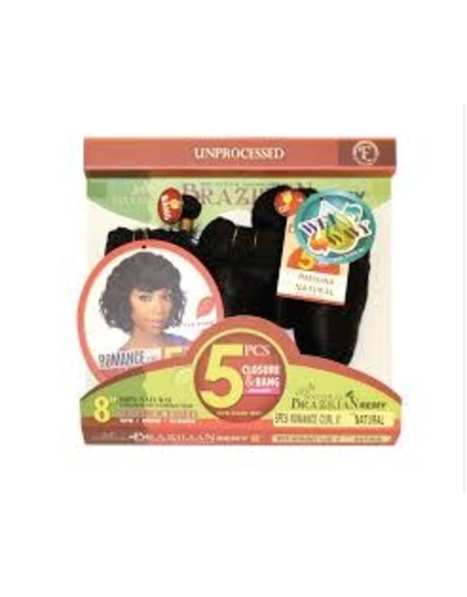 "EVE'S HAIR 5 PCS Brazilian Romance  Unprocessed  Curl  8"""