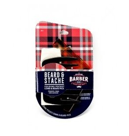 Authentic Barber Series Beard & Stache Folding Pocket Comb and Beard Pick