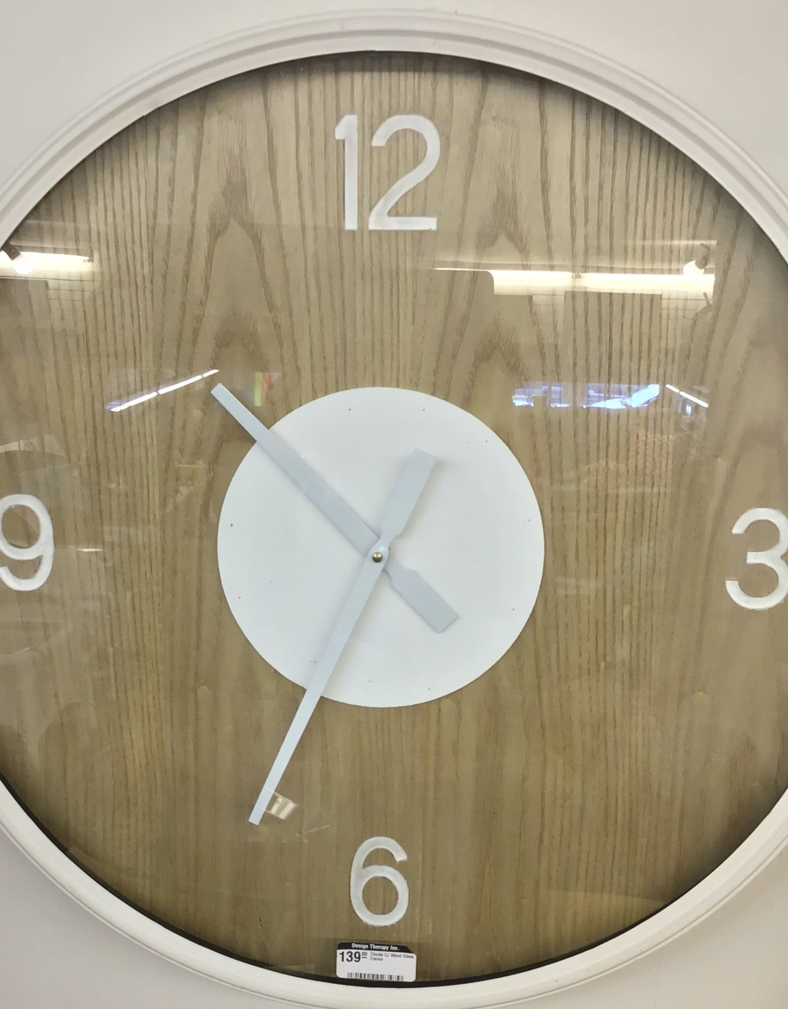 Clocks CJ Wood Glass Creme