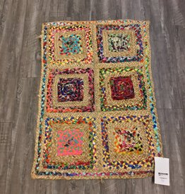 Fab Styles Rugs Fab Styles Jute Multi Colour Squares 2 x 3