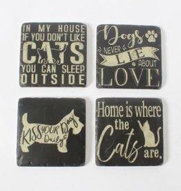 Coasters CJ  Dog & Cat B/W