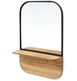 Mirror PC Iron/Wood Shelf