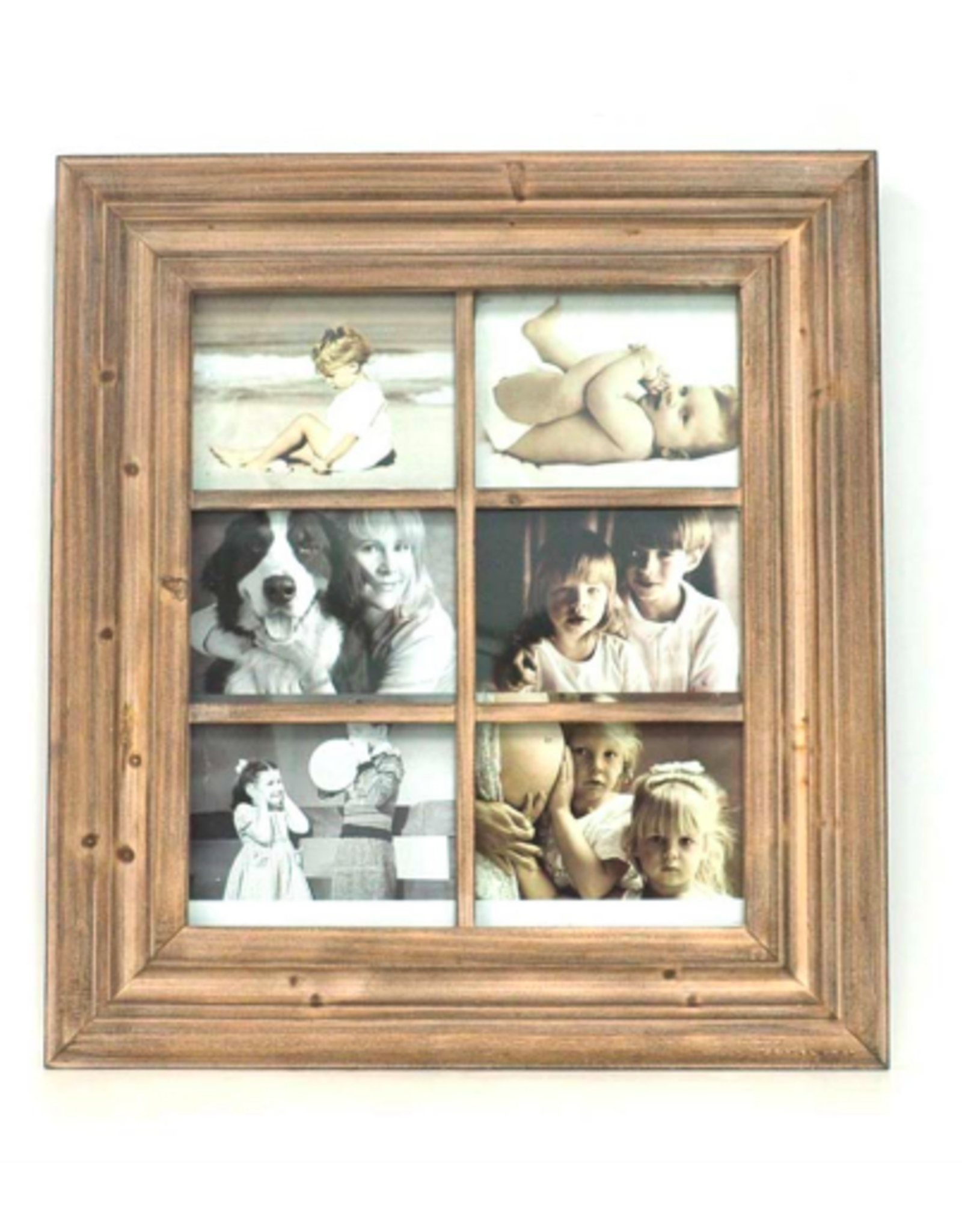 Picture Frame Splash 6 Picture Natural Wood