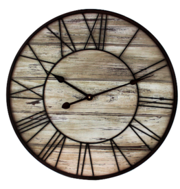 Clocks Splash Round Wood With Metal