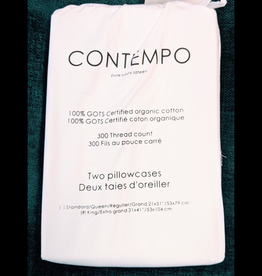 Pillow Cases Pair Contempo White Queen