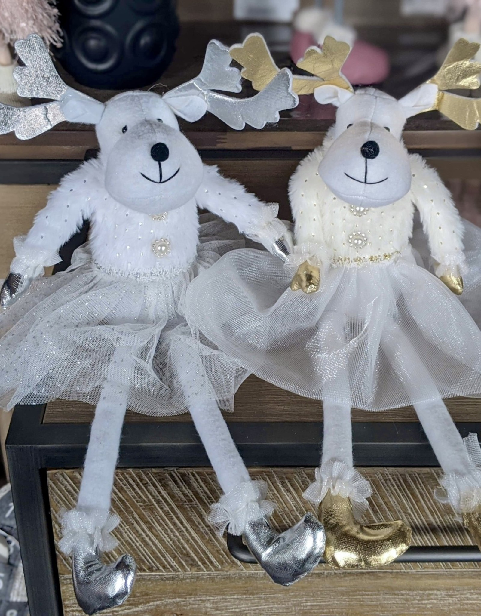 """Xmas Starlight Reindeer White Gold Horns 16"""" DK0309G"""