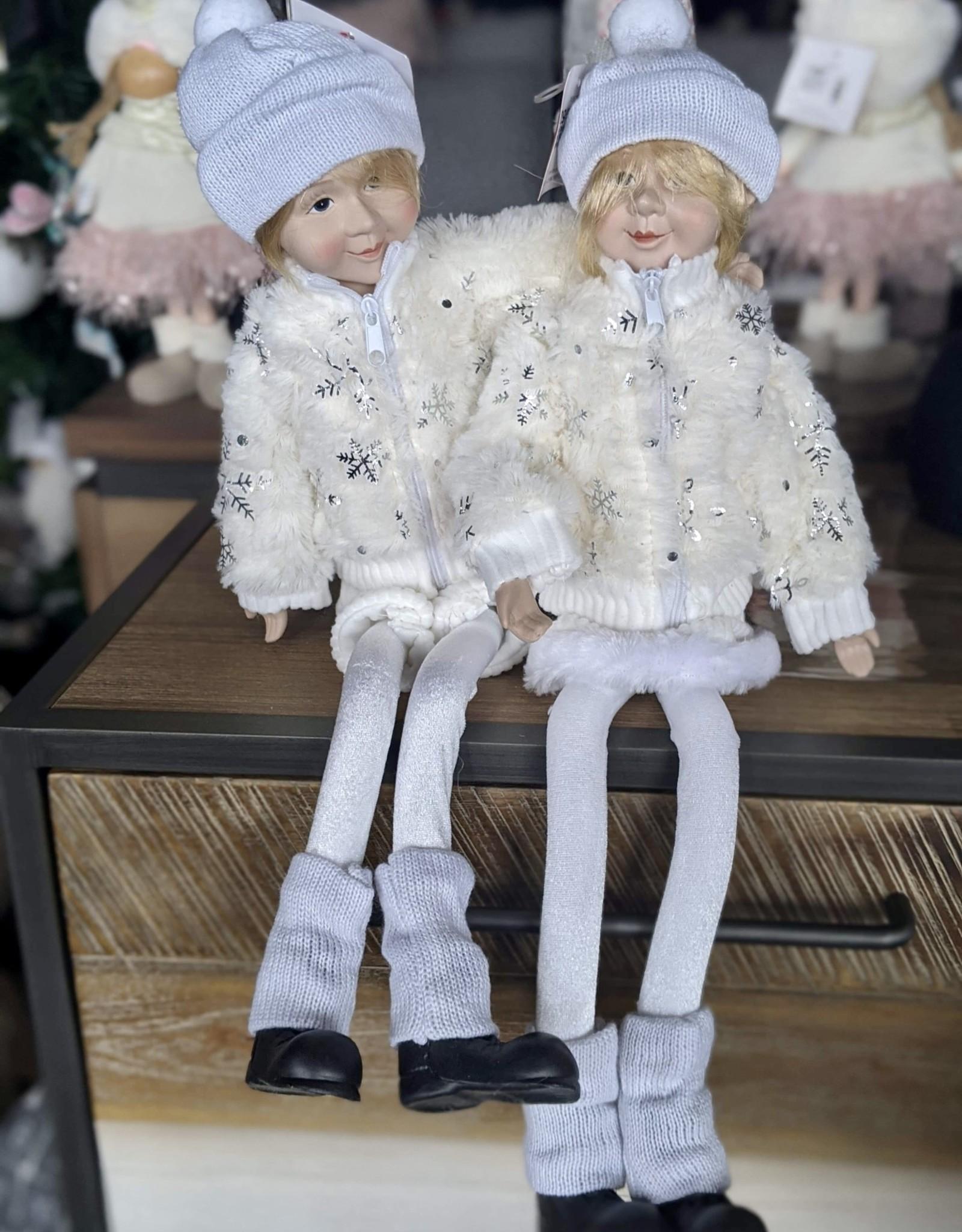 "Xmas Danson Fabric Elf White Hanging 22"""