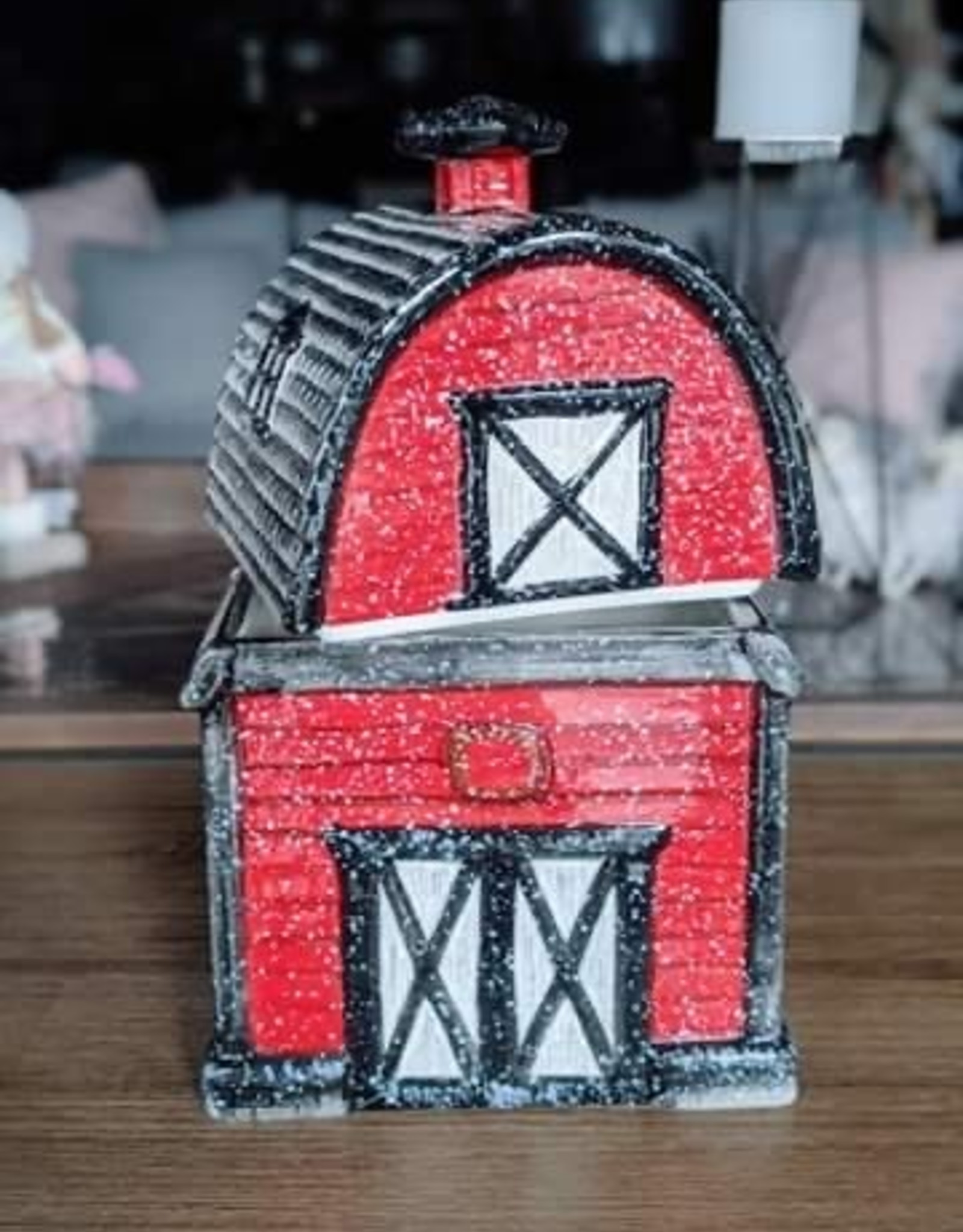 Xmas CT Cookie Jar Red Barn H1368