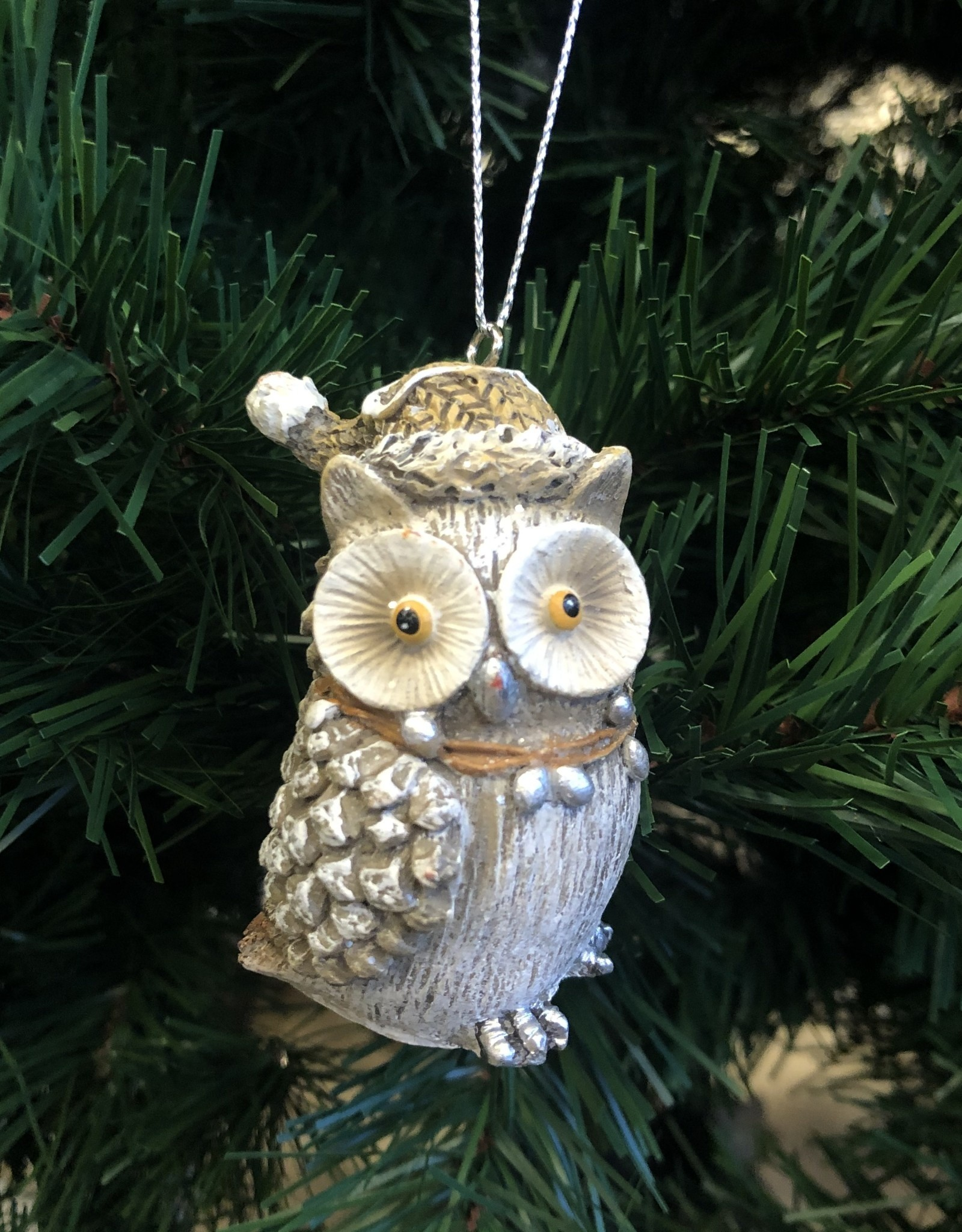 Xmas CT Frosted Pinecone owl D3295