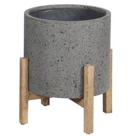 LH Imports Planter LH Round Standing Pot Grey PAT002-G