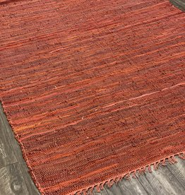 Rugs Viana Vista Flat Leather Weave Red 5 x 7