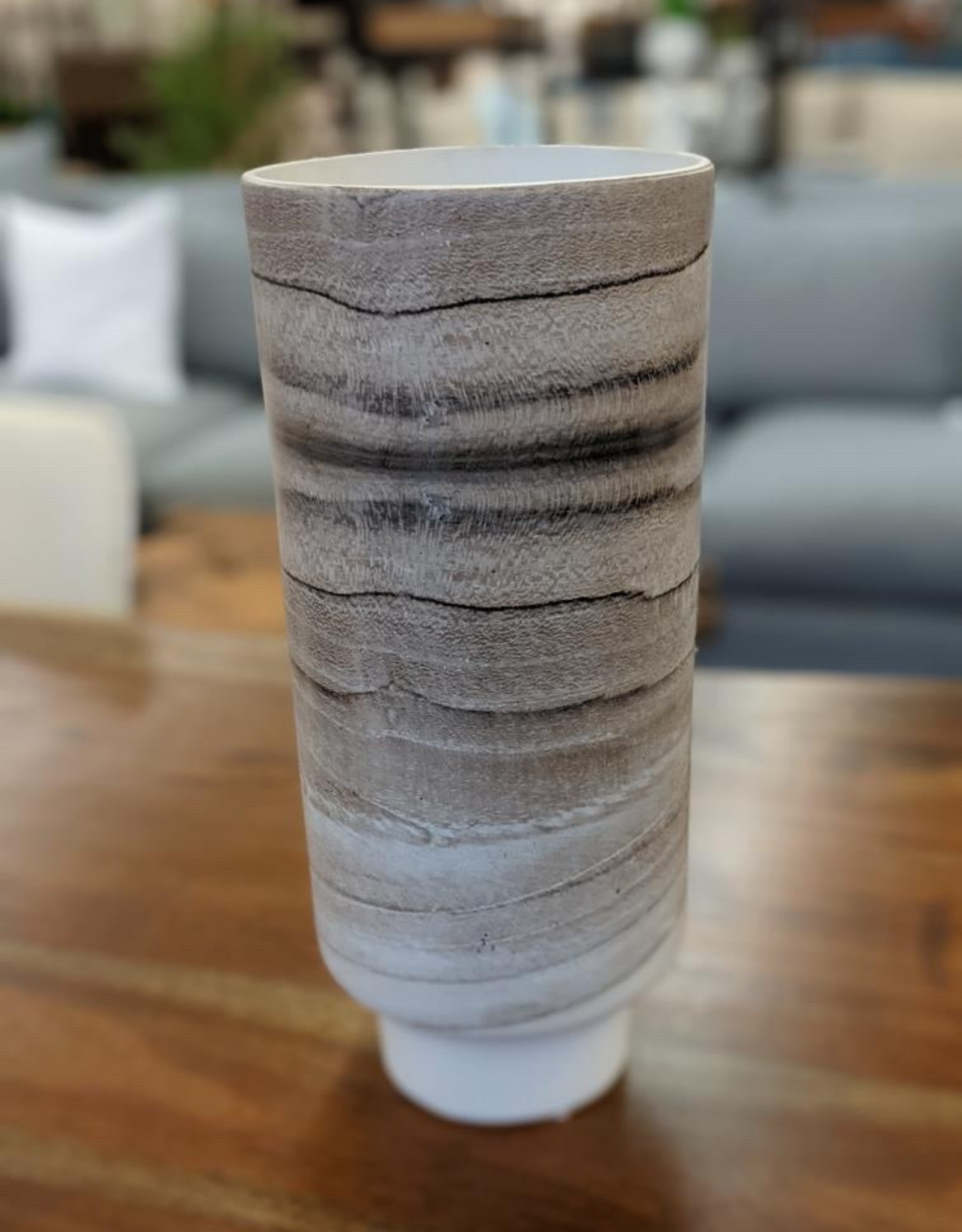 Vase Tall Grey Waves Cylinder