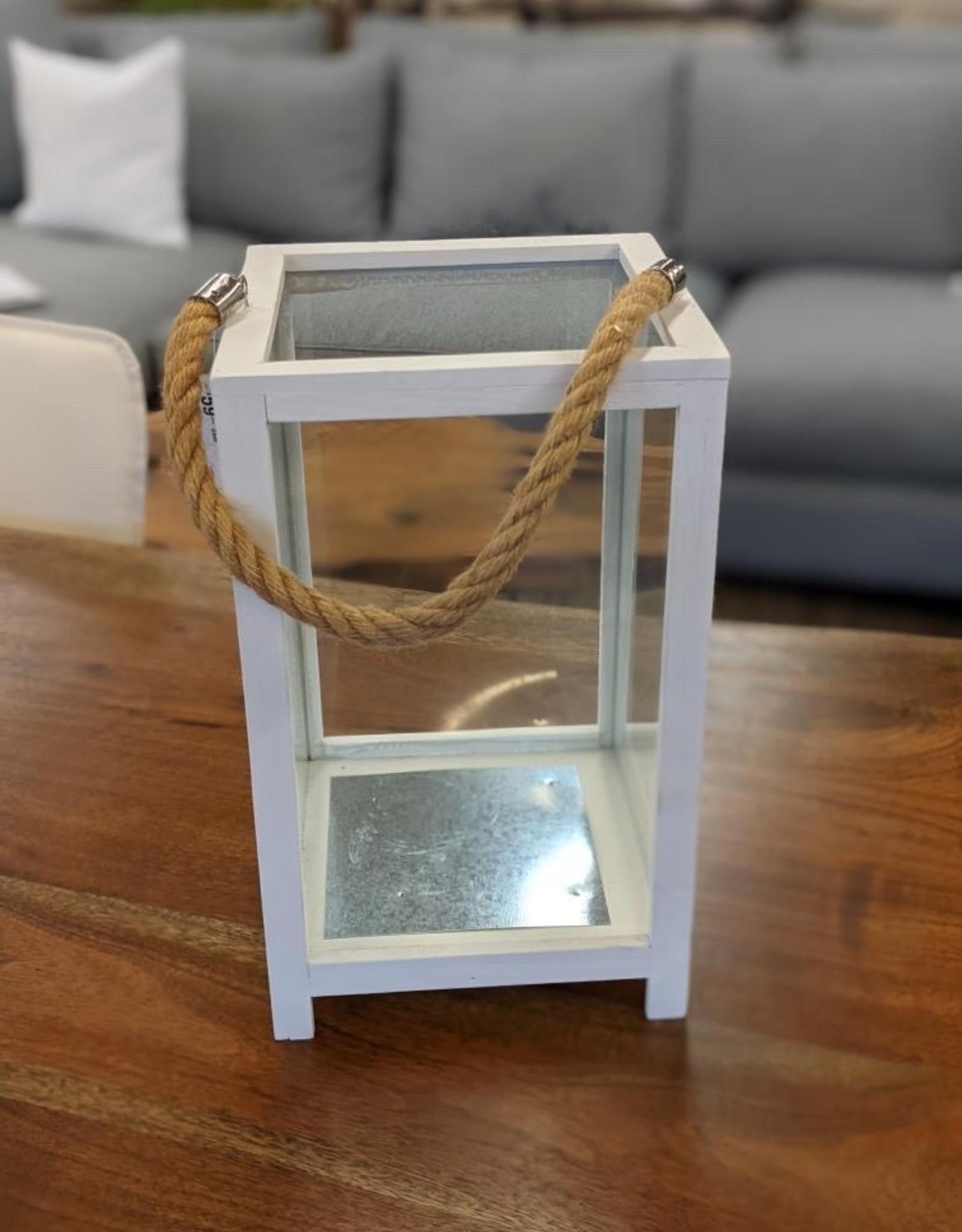 Hurricane Lantern Bovi White Glass