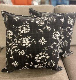 Cushions 95&Co Black Linen White Flower