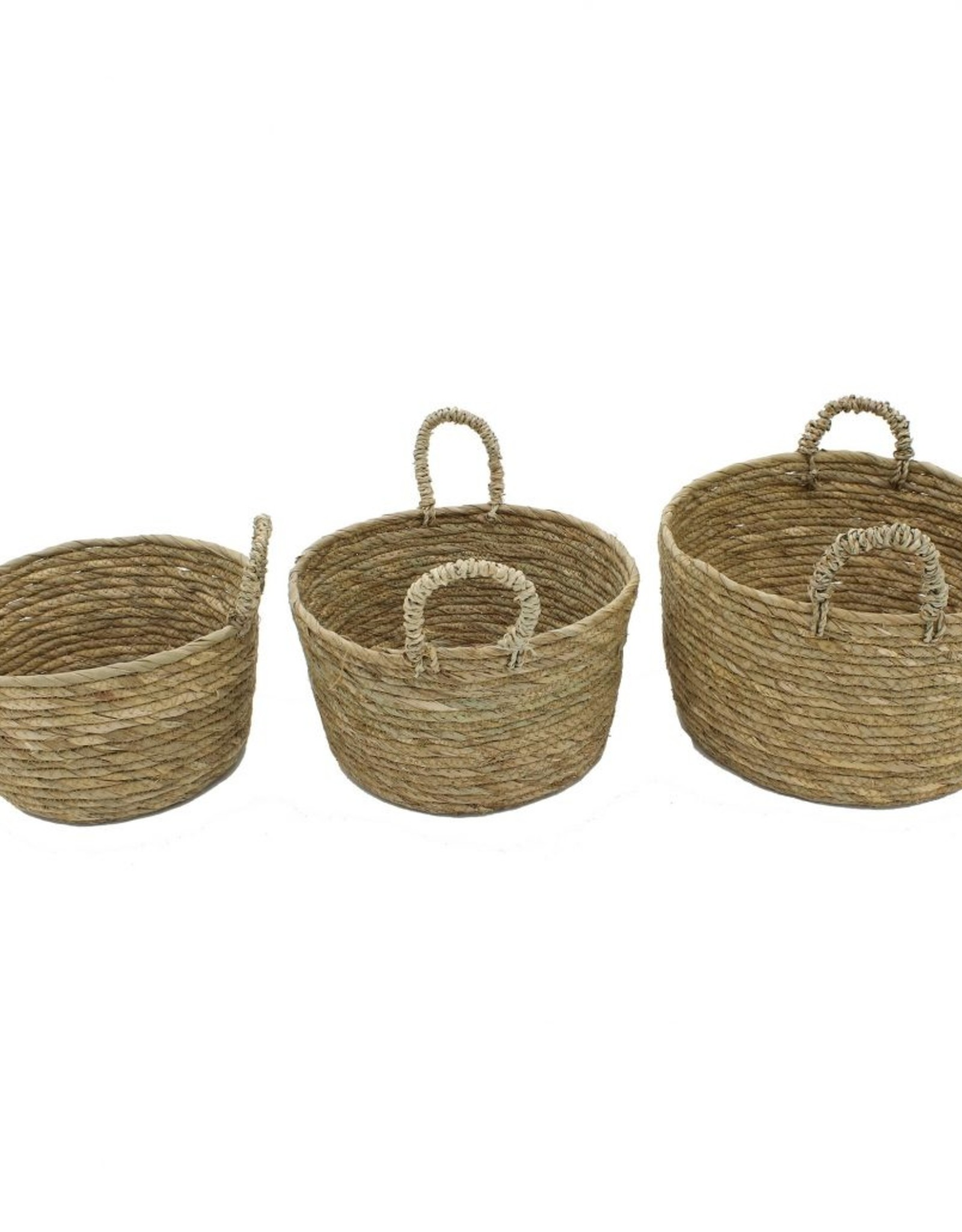 """Cathay Basket Cathay Round Straw 11""""D W/Handle 10-2433"""