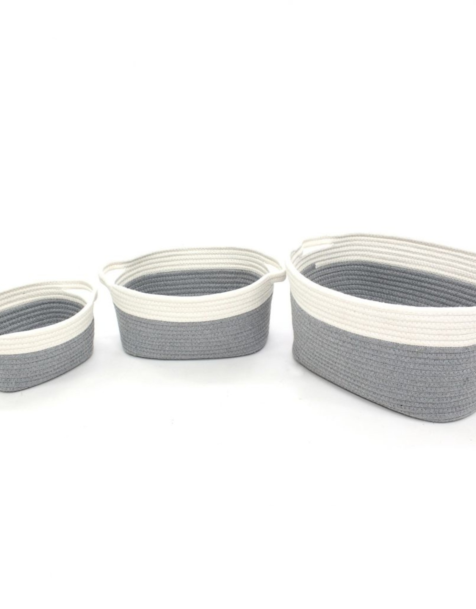 "Cathay Basket Cathay Grey Cotton Rope Oval 12"" L 10-2506"