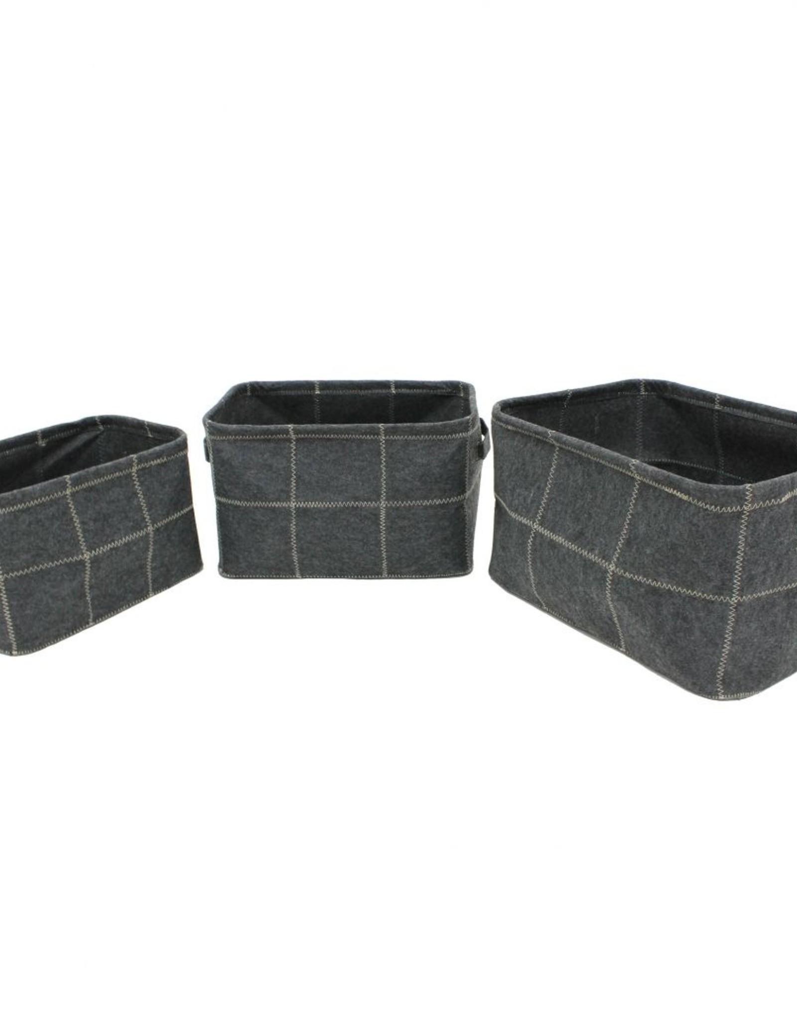 "Cathay Basket Cathay Grey Felt Rectangle 14""L 10-2512"
