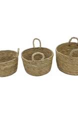 """Cathay Basket Cathay Round Straw 8.5"""" D W/Handle 10-2431"""