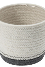 """Cathay Planter Cathay White/Grey Cotton Rope 7"""" D 08-2002"""